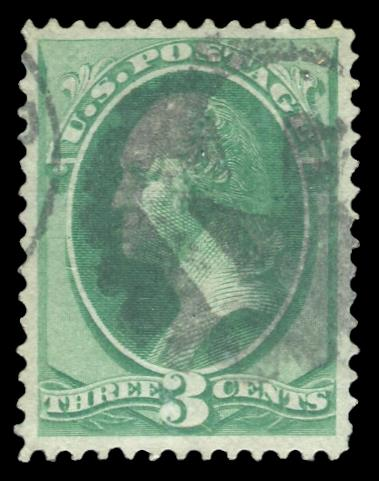 "136 Used PSE Graded 85 w/ ""3"" Fancy Cancel, Cert # 01316401"