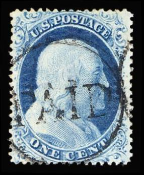 #23 Used PSE Graded 85 w/ PAID cancel, PSE Cert. # 01234460