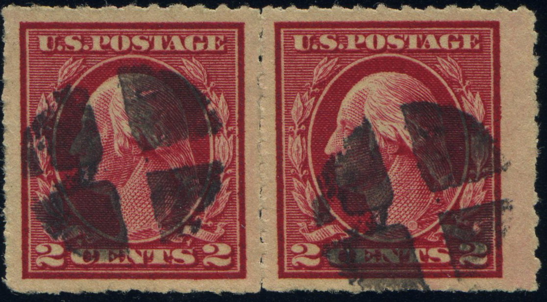 #409 Used pair with Rouletted perforations w/ PF Certificate