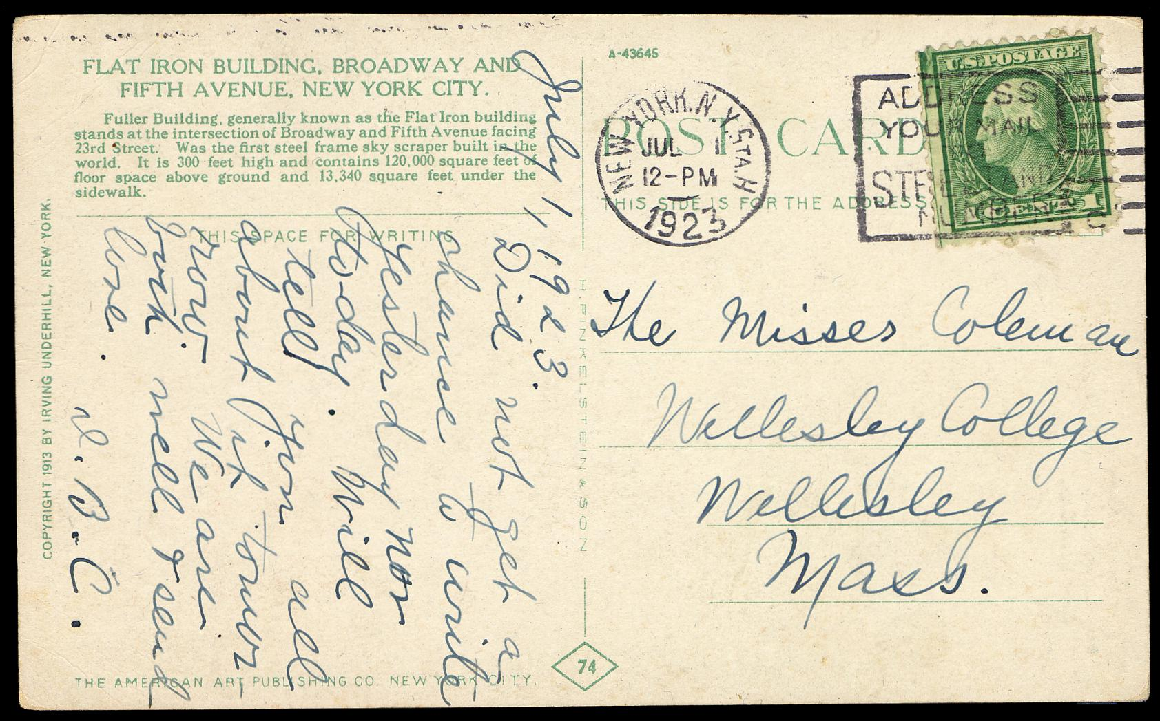 #545 on July 1, 1923 Cover with PSE Certificate # 01146391