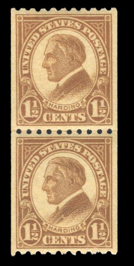 #605 MNH Coil Line Pair, PSE Graded 90 Cert. # 01297417