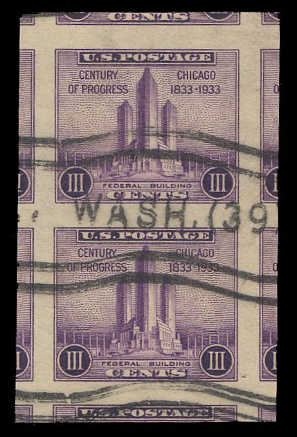 #731a Used Vertical Pair PSE Graded 100J, Cert # 01254179