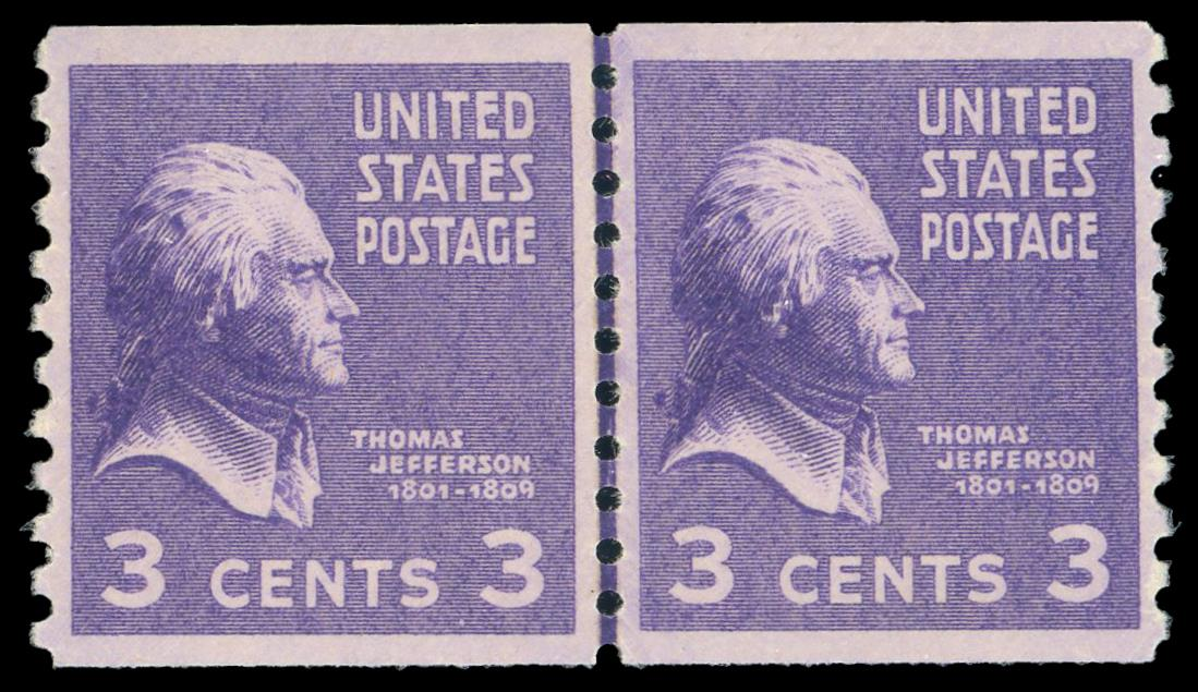 #842 MNH Coil Line Pair PSE Graded 95, Cert. # 01346817