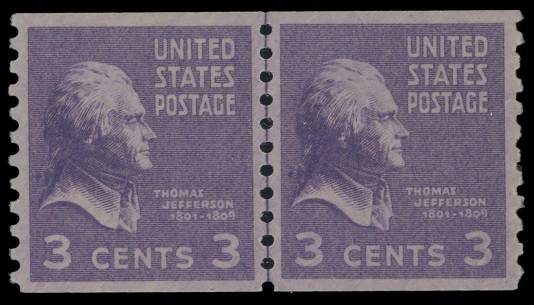 #842 MNH Coil Line Pair PSE Graded 95, Cert # 01343869
