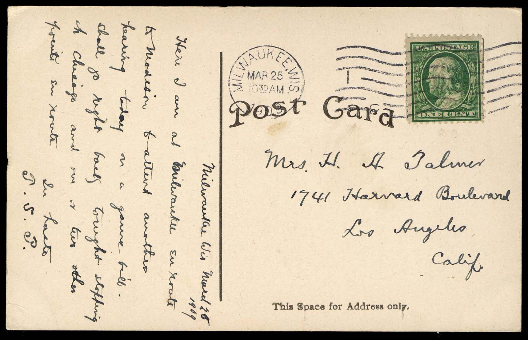 #357 mailed from Milwaukee on picture postcard, PSE Certificate