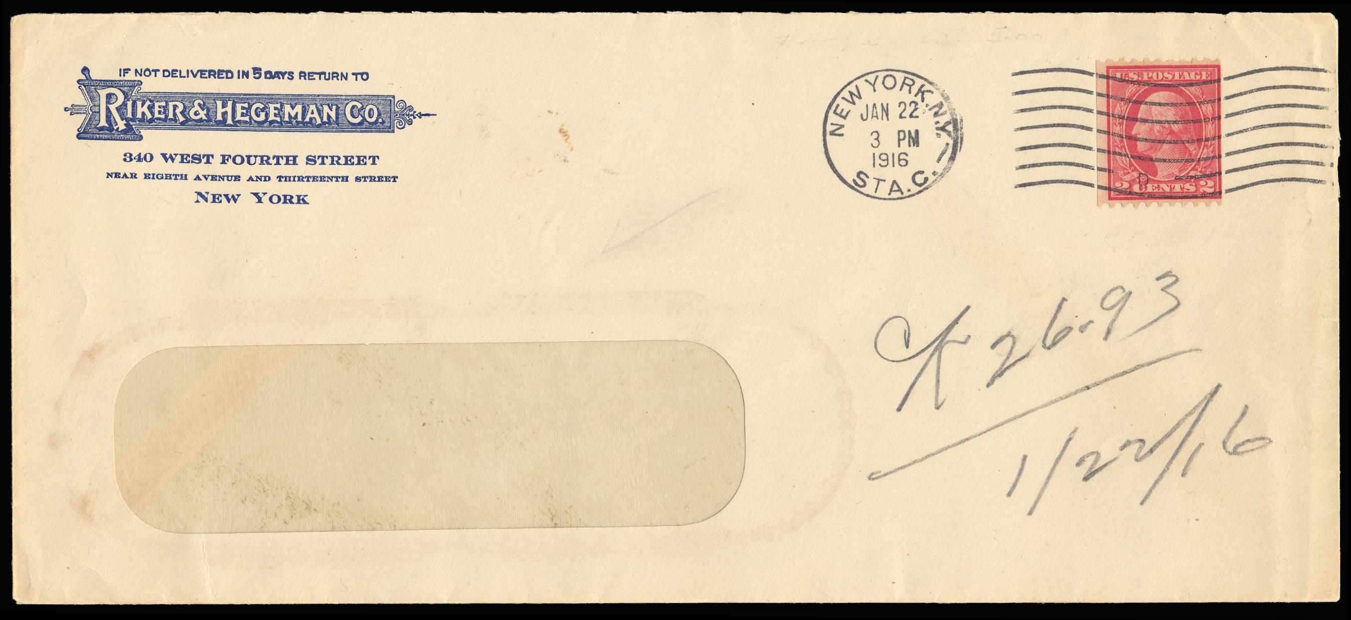 #449 on cover with N.Y., N.Y. machine cancel dated Jan 22, 1916