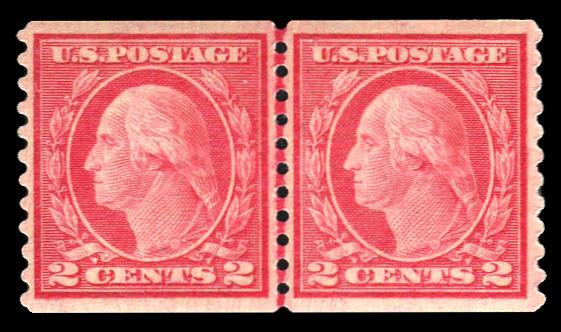 #455 MNH Coil Line Pair PSE Graded 80, Cert # 01277461