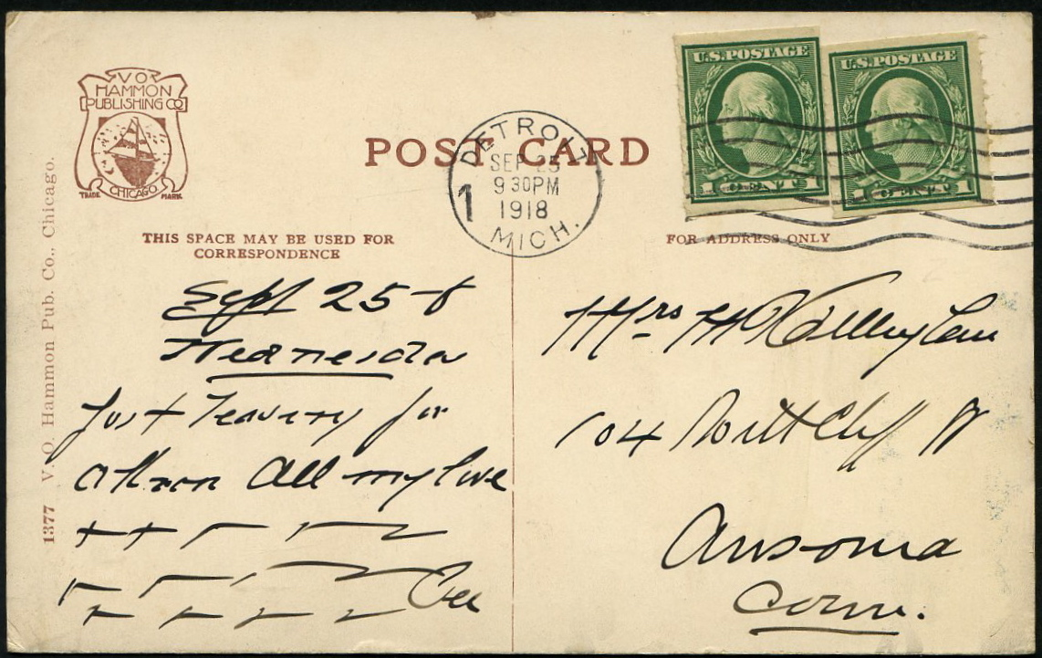 #481 Pair with Private perfs on Postcard PF Certificate # 504879
