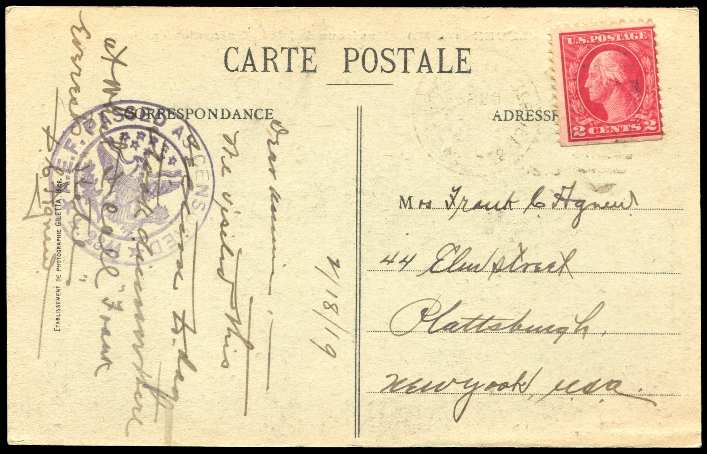 #499f AEF Booklet Single on Postcard, PSE Cert. # 01301843