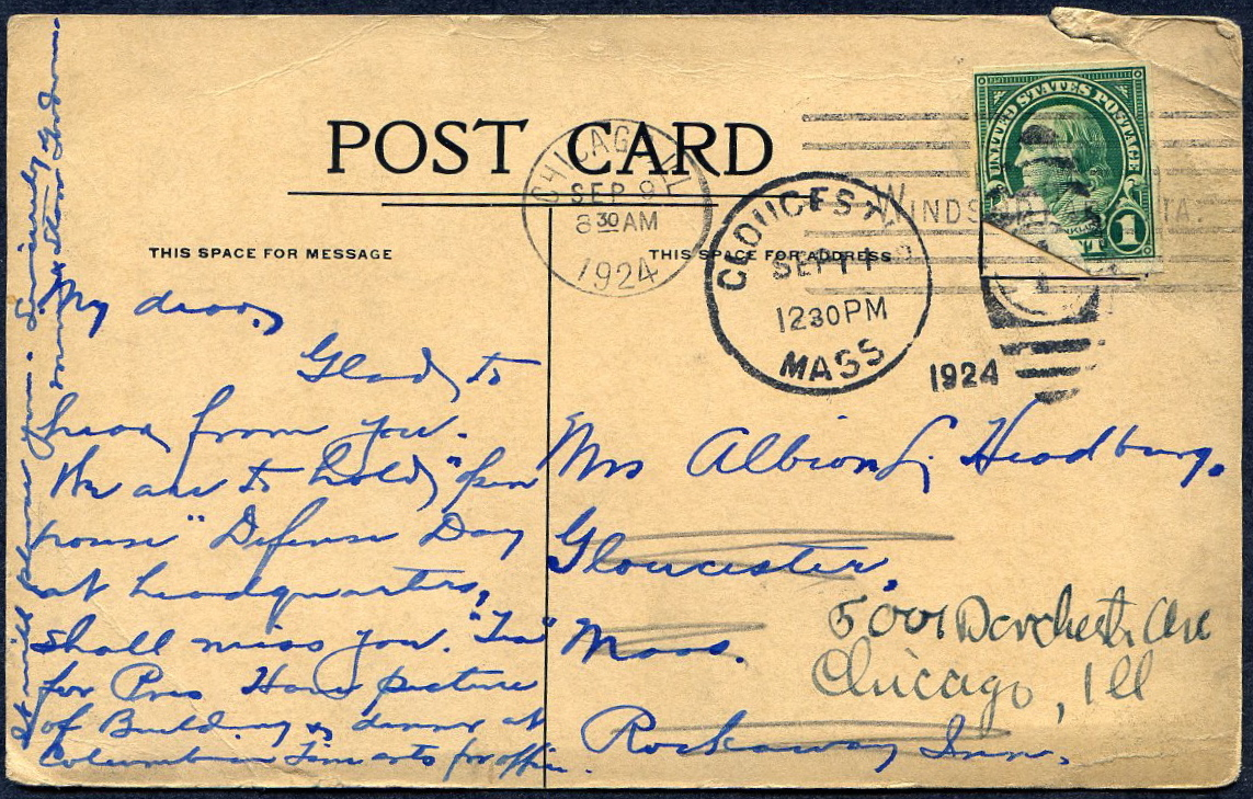 #575 Shermack Type III single tied on Postcard 1924